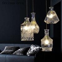 European modern minimalist glass chandelier personality Restaurant Bar creative fashion bottle chandelier free shipping