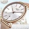 ליגע אופנה נשים שעונים עמיד למים פלדת רשת רצועת מינימליסטי גבירותיי שעון מקרית ספורט קוורץ שעון שעון Relogio Feminino