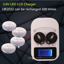 1 pièces chargeur + 4PCSLIR2032 bouton batterie, batterie rechargeable LIR2032 LIR2025 LIR2016 3.6 V, LED batterie chargeur USB je