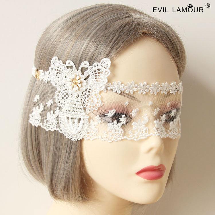 Princesa dulce lolita máscara de la Reina van corona blanca velos frontales velo baile fiesta bares noche decoración MJ-16