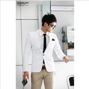 2018 autumn outerwear male suit white blazer casual suit male slim formal dress