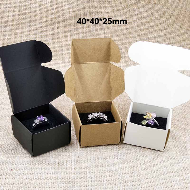 20pcs brown/white/black cardboard ring packing display box with black velvet sponage inside custom logo moq 1000pcs