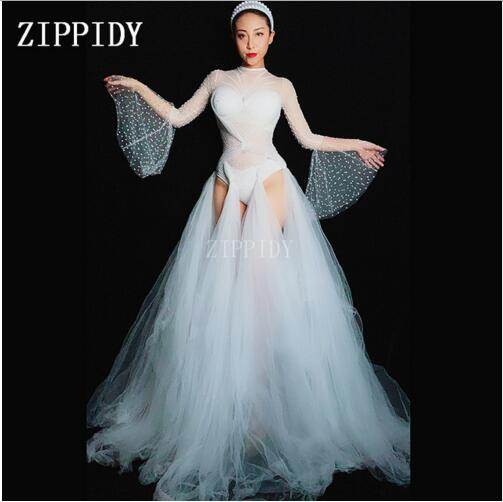 الأبيض شبكة الراين النساء نحيل عيد بار ملهى ليلي الرقص المطربة الأداء منظور الزي