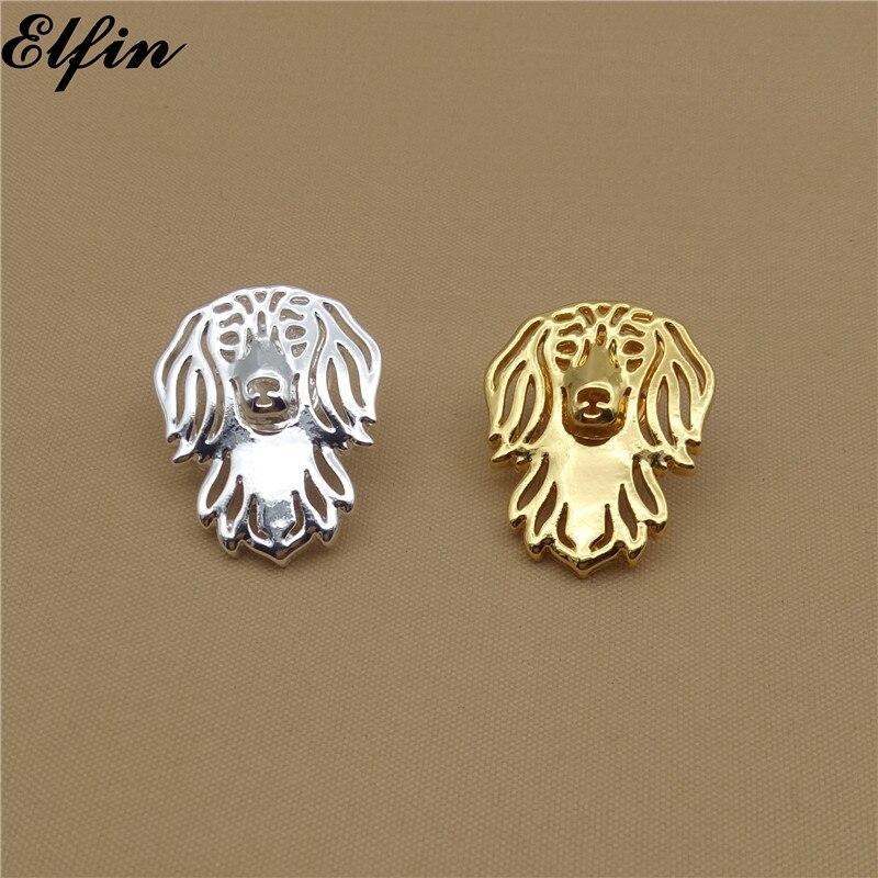 Broches de perro salchicha de pelo largo Elfin, broches de Color dorado, Color plateado, broches de perro salchicha de pelo largo, joyería