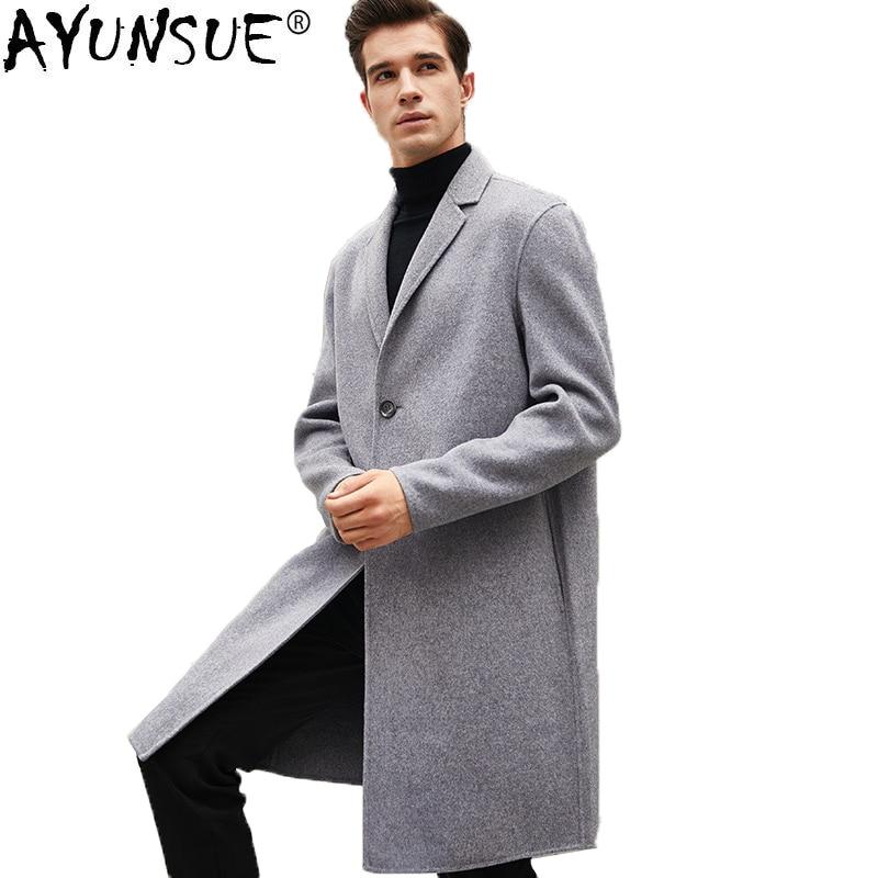 AYUNSUE en lana de doble cara de los hombres coreanos Abrigo primavera...