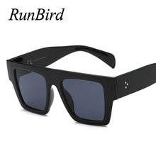 RunBird Flat Top Oversize Square Sunglasses Women Brand Designer Decoration Gradient Shades Black Re