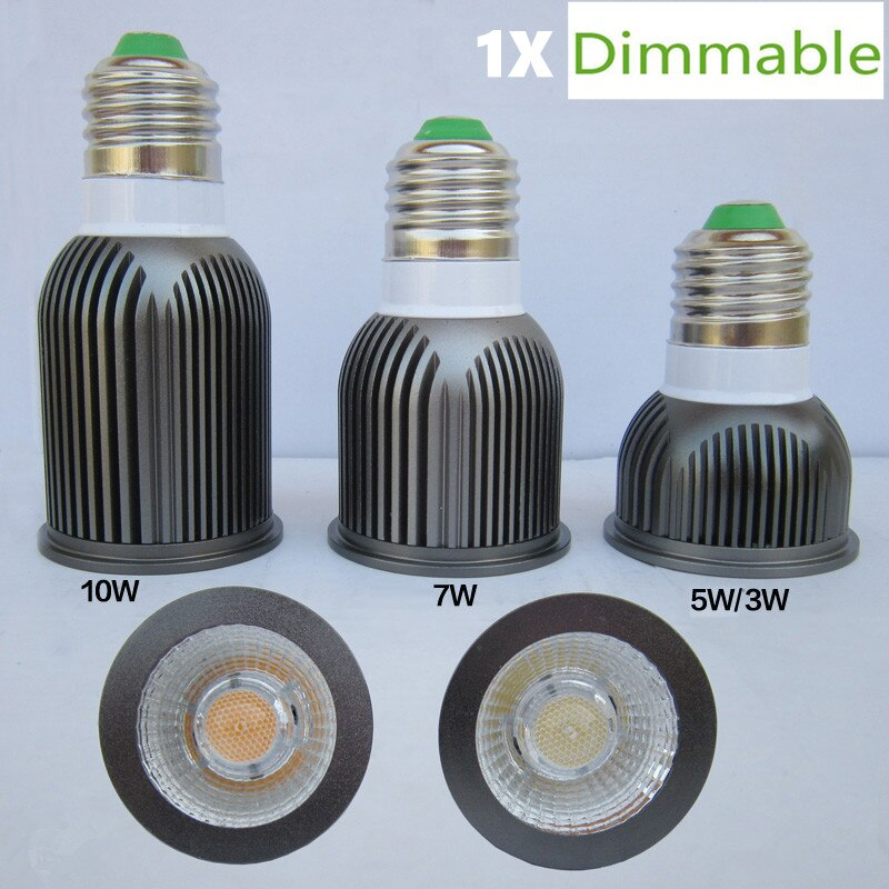 1 unids/lote foco LED COB regulable E27 Gu10 4000K 3000K blanco cálido 3W 5W 7W 10W bombilla reemplazar lámpara halógena lámpara de ahorro energético