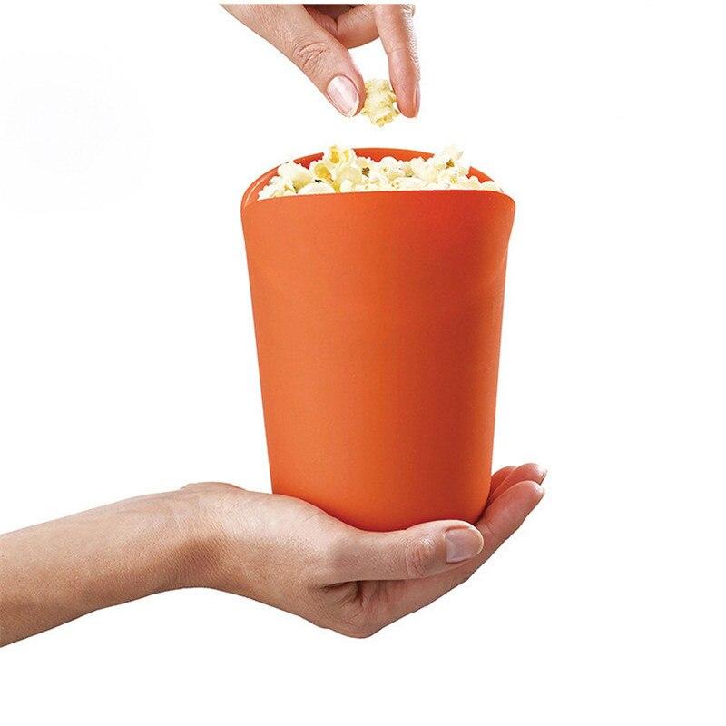 Diy Katlanabilir Silikon Mikrodalga patlamış mısır makinesi Kase Bakeware Pasta Aracı patlamış mısır kovası