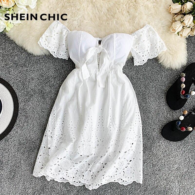 Vintage White Hollow Out Women Mini Dress 2019 Summer New Beach Party Casual Dress Sexy Slash Neck Off Shoulder Verano Vestidos