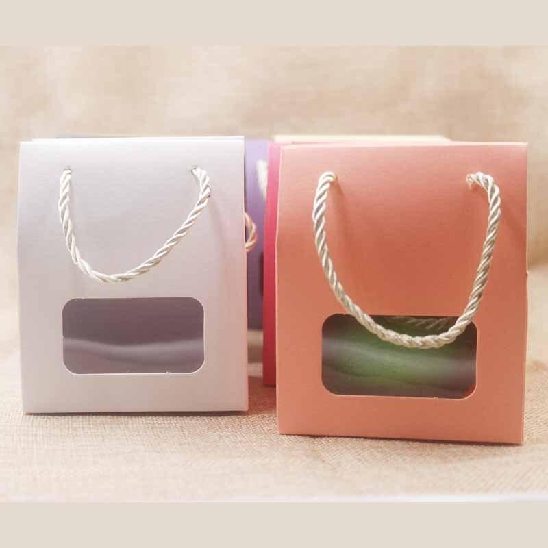 10 unids/lote Cajas de caramelos con asa multicolor retangular/forma de corazón pvc película ventana papel ASA regalos/Paquete de boda bolsa caja
