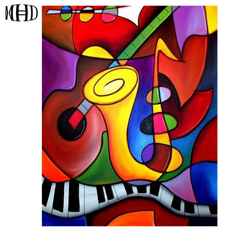 MHD абстрактная музыкальная мозаика полная и круглая Алмазная вышивка 5D DIY Алмазная картина кристальная вышивка крестиком горный хрусталь м...