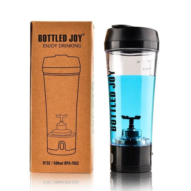 Botella de coctelera de proteína de suero de leche, botella de agua recargable para deportes joyshaker, coctelera eléctrica, proteína de gimnasio de 450 ml/16 OZ