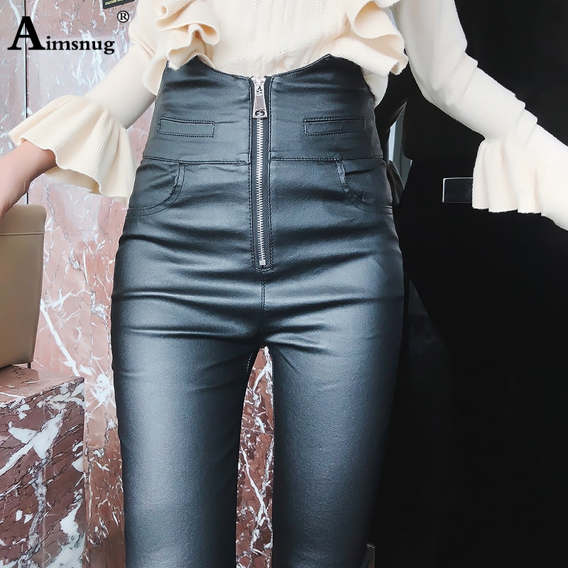 Women Fashion High Waist PU Leather Trousers Zipper Skinny Pencil Pants Girls DULL Faux Leather Spring Winter Pants skull zipper fly skinny faux leather pants