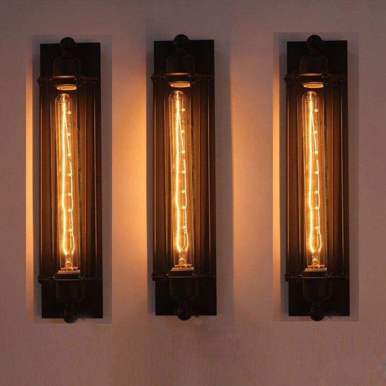 Decoración del hogar loft americano balcón vintage flauta de hierro lámpara de pared industrial E27 edison bombilla pared aplique de luz DIY bar luces