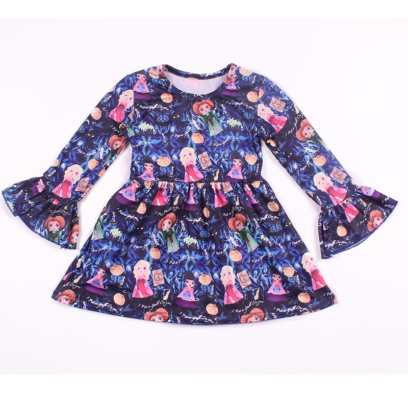 2018 otoño/invierno niños Vestido de manga larga princesa impreso ropa leche seda niñas vestido de dibujos animados 12m a 7t disponible
