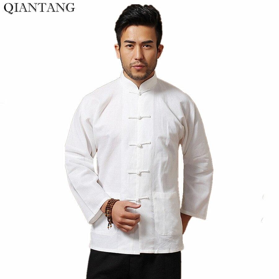 Camiseta blanca de manga larga de lino y algodón para hombre, camiseta de Kung Fu estilo chino clásico ropa Tang talla S M L XL XXL XXXL hombre Camisa Mim902