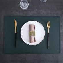 ¡Nuevo! Manteles individuales simples y dobles de cuero de alta gama, mantel antideslizante de Color sólido, salvamanteles impermeables y resistentes al aceite para mesa, vajilla