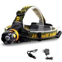 2 LED Farol Lanterna Tocha Lâmpada Lanterna de Cabeça Farol Zoomable Farol bule luz amarela para a Pesca Carregador AC