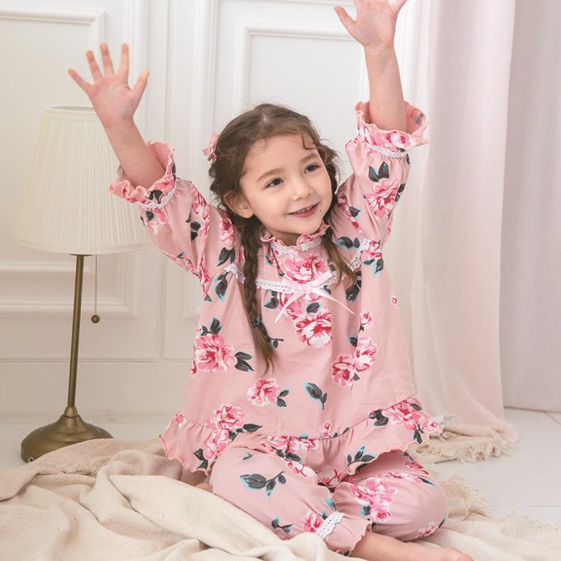 100% de algodón para bebés y niñas, con estampado de flores, Para princesas, para dormir, Primavera, novedad de verano, con volantes, para niños ws247