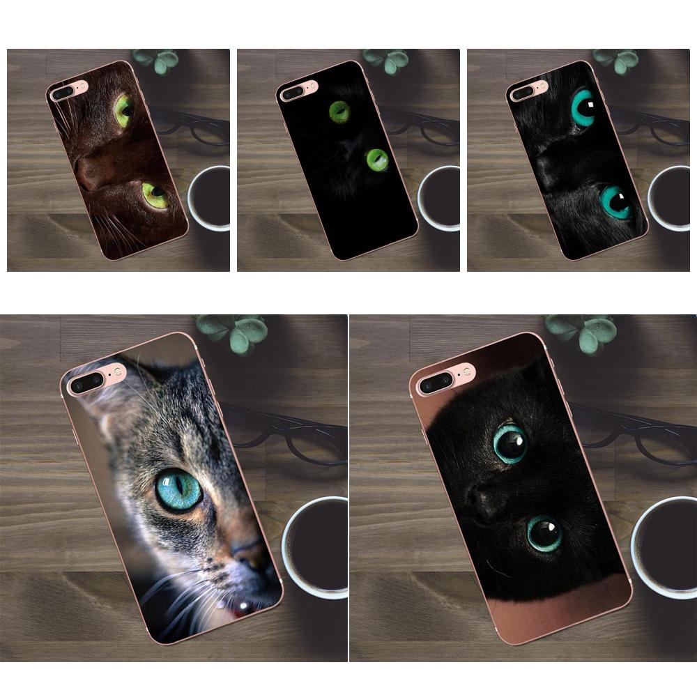 Para Huawei G8 Honor 5C 5X6 6X7 8 9 Y5II Mate 9 P7 P8 P9 P10 p20 Lite Plus 2017 estampado Capa verde ojos de gato de Cheshire negro