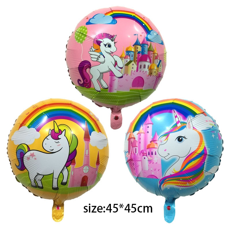 Nuevos globos metalizados de unicornio de dibujos animados para fiesta de cumpleaños inflable juguetes de decoración para niños 45*45cm