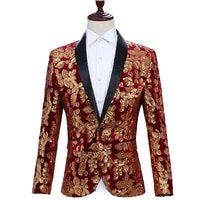 yushu male shawl lapel blazer classic black velvet sequins slim suit jacket fashion casual wedding dj club stage singer costume