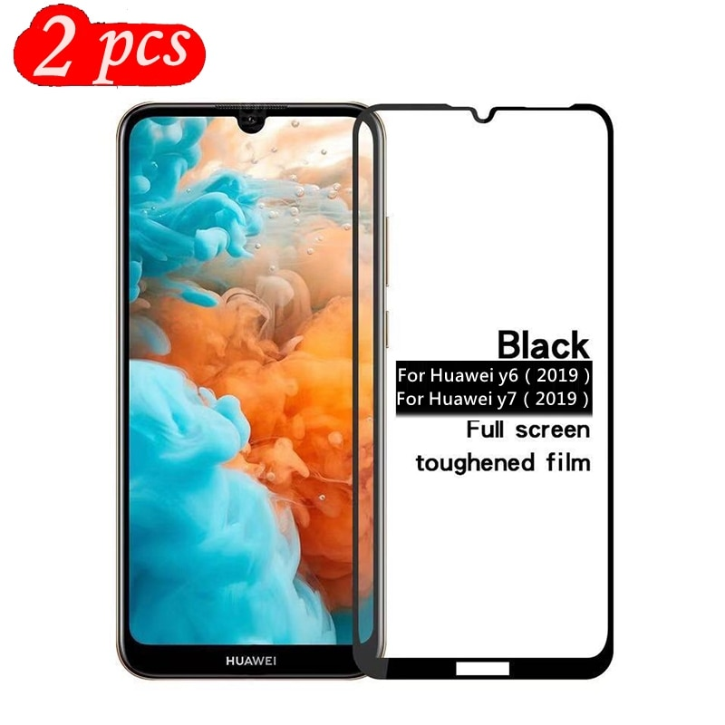 2 uds vidrio templado para Huawei Y6 2019 cubierta completa 9H protector de pantalla de película a prueba de explosiones para Huawei Y7 2019
