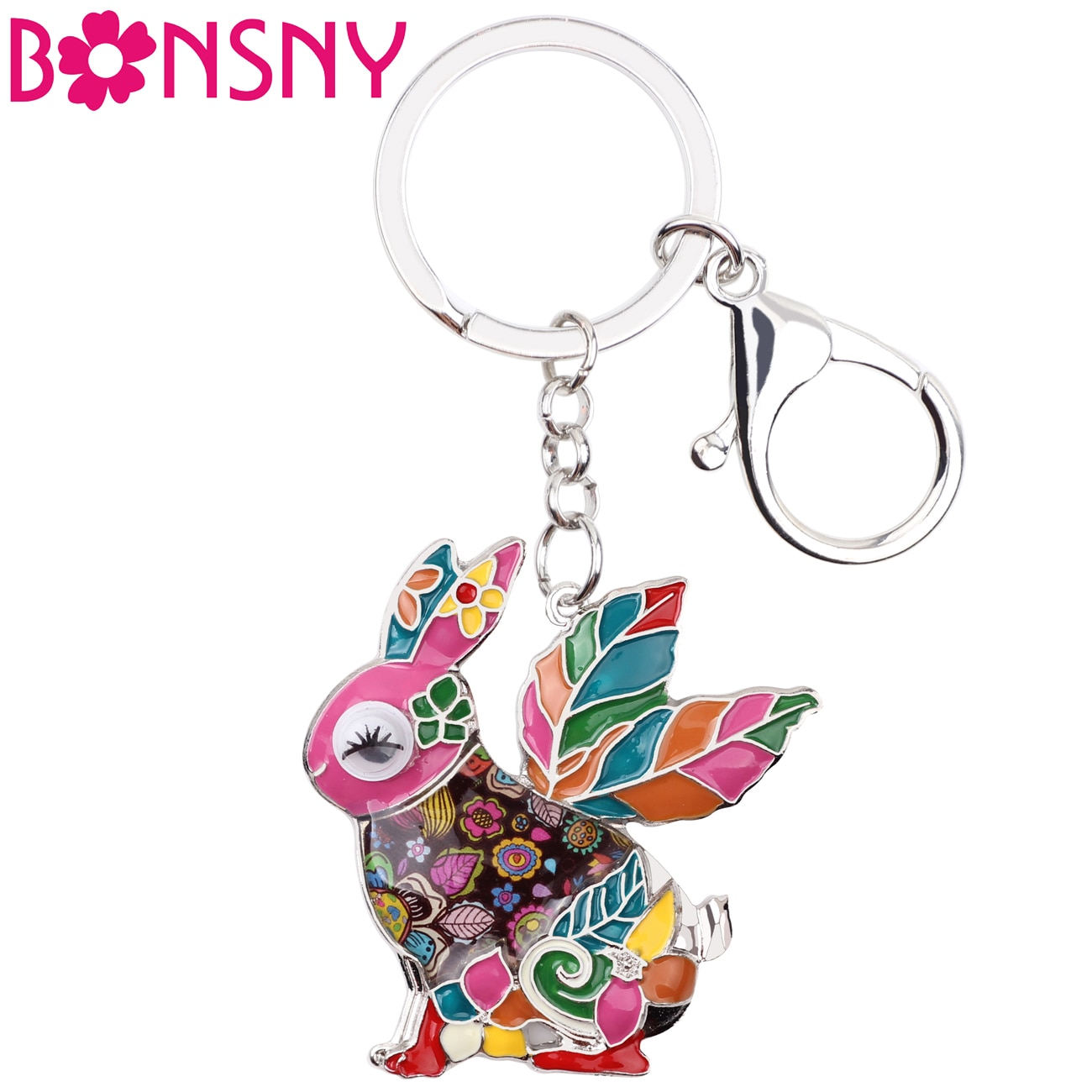 Bonsny Enamel Alloy Rabbit Hare Key Chain Key Ring Handbag Charm New Fashion Animal Jewelry For Women Keychain Accessories