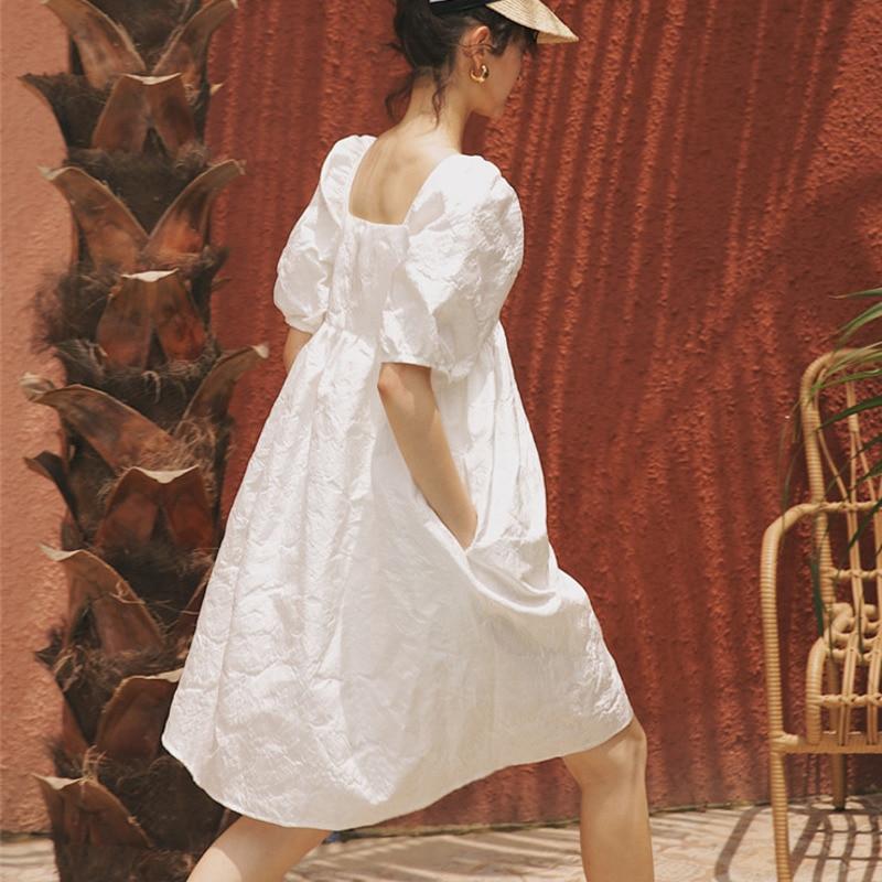 LANMREM новая летняя и осенняя мода женская одежда с рукавами Хаббл-пузырь квадратный воротник фонарь рукав пуловер платье WH512
