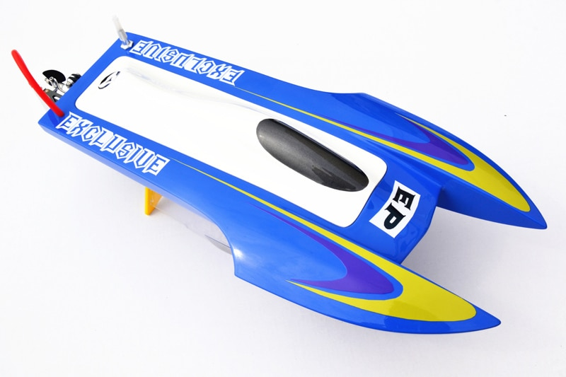 M440 KIT de fibra de vidrio Speed de automovilismo casco de barco prepintado solo Mini catamarán para jugador avanzado azul TH02612