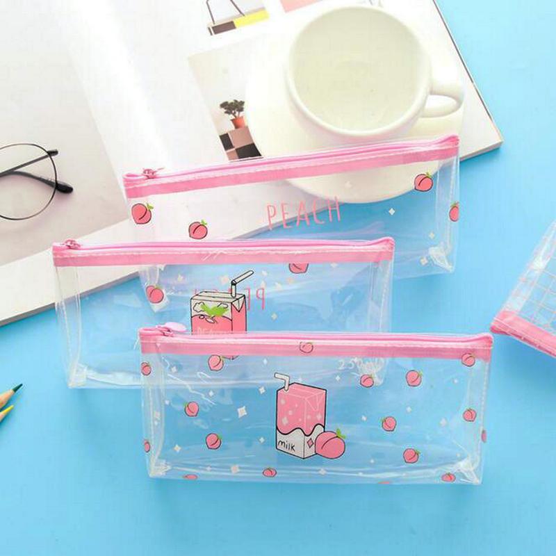 1 pieza de cartuchera Rosa melocotón para niñas, estuche de bolígrafo para estudiantes, papelería escolar para oficina, regalo de cumpleaños para niños
