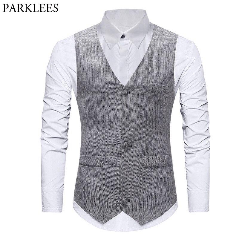 Chaleco Formal de un solo pecho Para Hombre, traje de espiguilla clásico, chaleco gris ajustado Para Hombre, chaleco de matrimonio Para Hombre