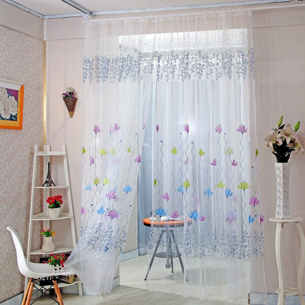 Cortinas para decoración del hogar ventana transparente cortinas para sala de estar dormitorio cocina cortinas de tul modernas persianas de tela solar Floral
