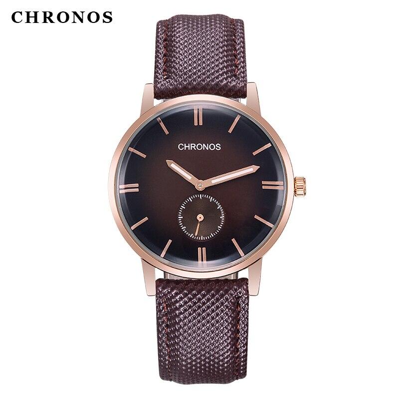 CHRONOS Männer Mode Kausalen Business Uhr Schwarz Braun Leder Analog Armbanduhr Männlichen Uhr Uhr Relogio Masculino CH05