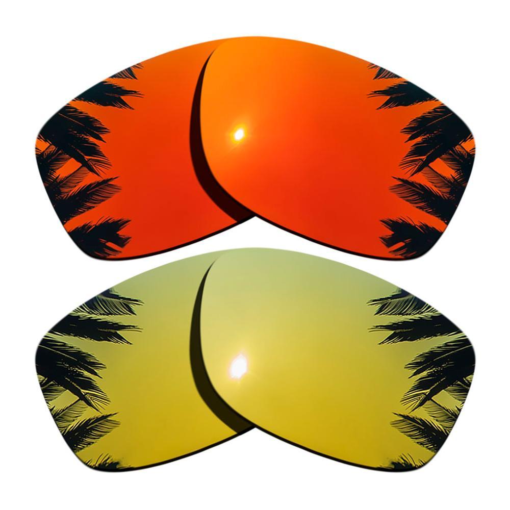 24K Gold Mirrored & Orange Red Mirrored Polarized Replacement Lenses for Jupiter Squared Frame 100%