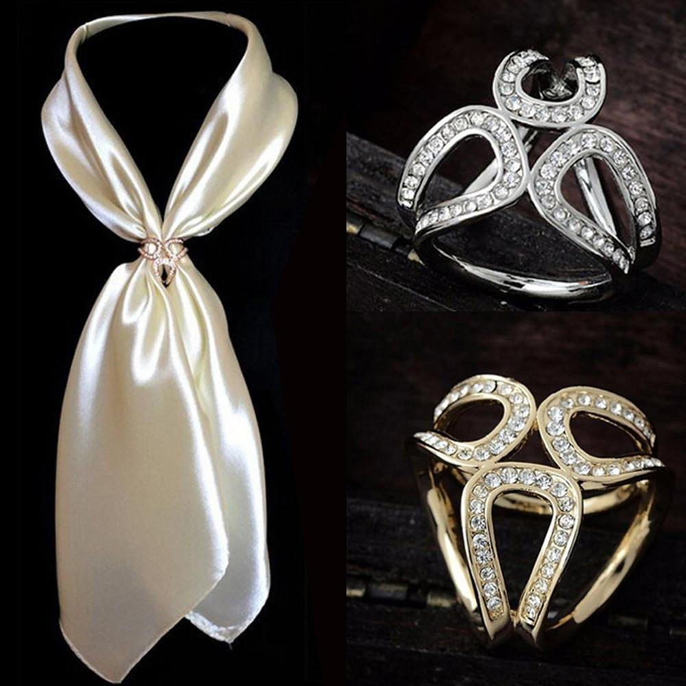 Women Fashion Hollow Rhinestone Inlaid Three-ring Scarf Shawl Pin Jewelry