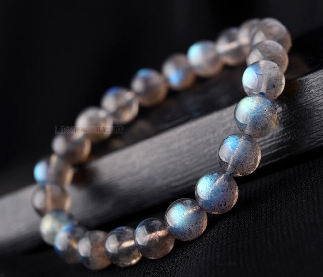 Pulsera de piedra lunar azul de 7,5-8mm con envío gratis, cristal labradorita de Sri Lanka