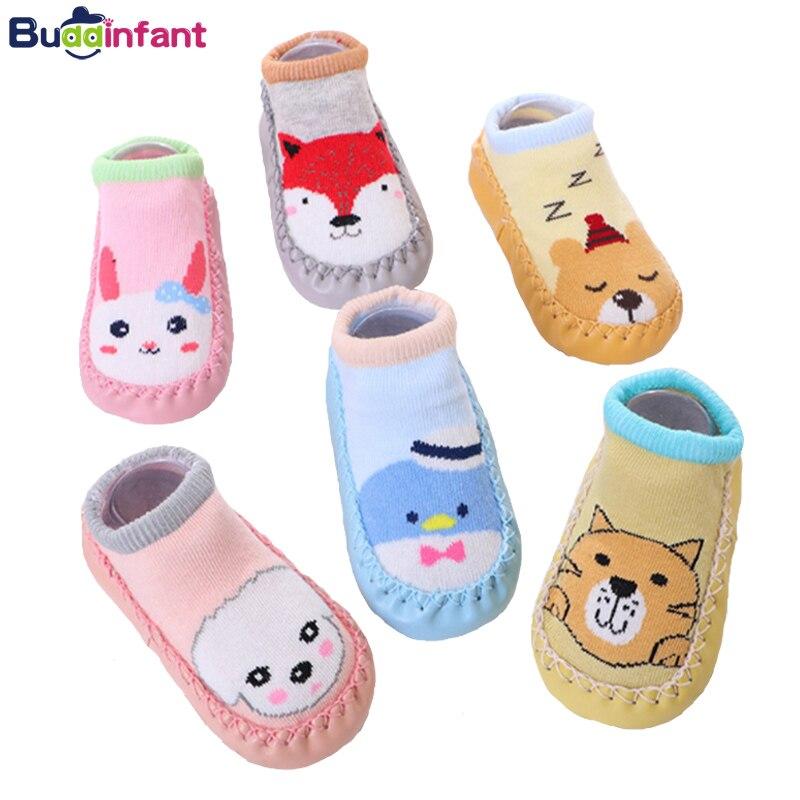 Bebê menino menina meias com sola de borracha da criança meias de chão raposa coelho algodão quente chinelos recém-nascidos do bebê meias sola macia bebe