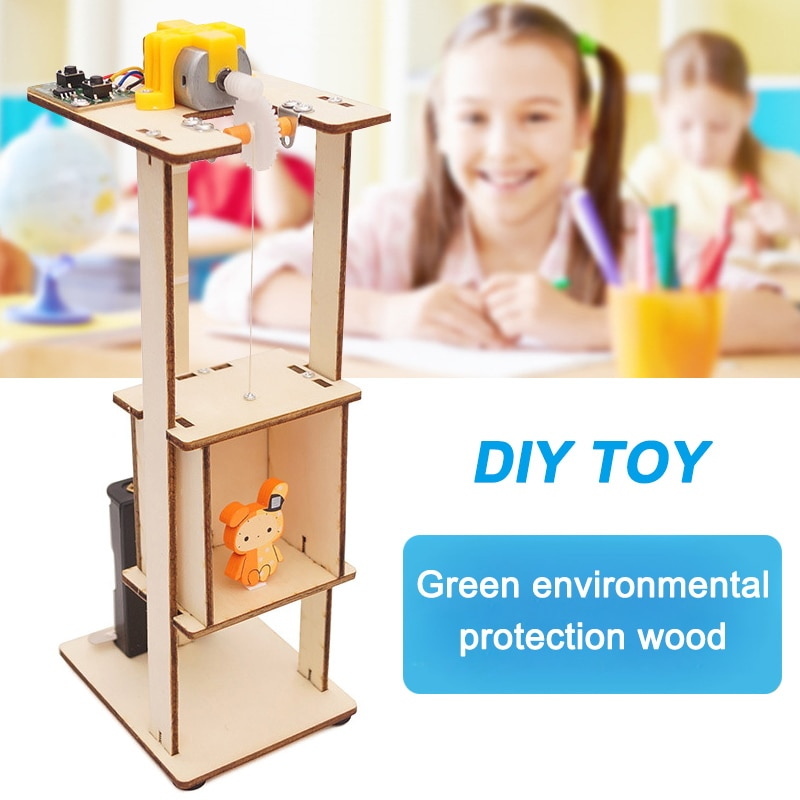 DIY Assemble Electric Lift Toys Kids Science Experiment Material Kits Toys Gifts AN88