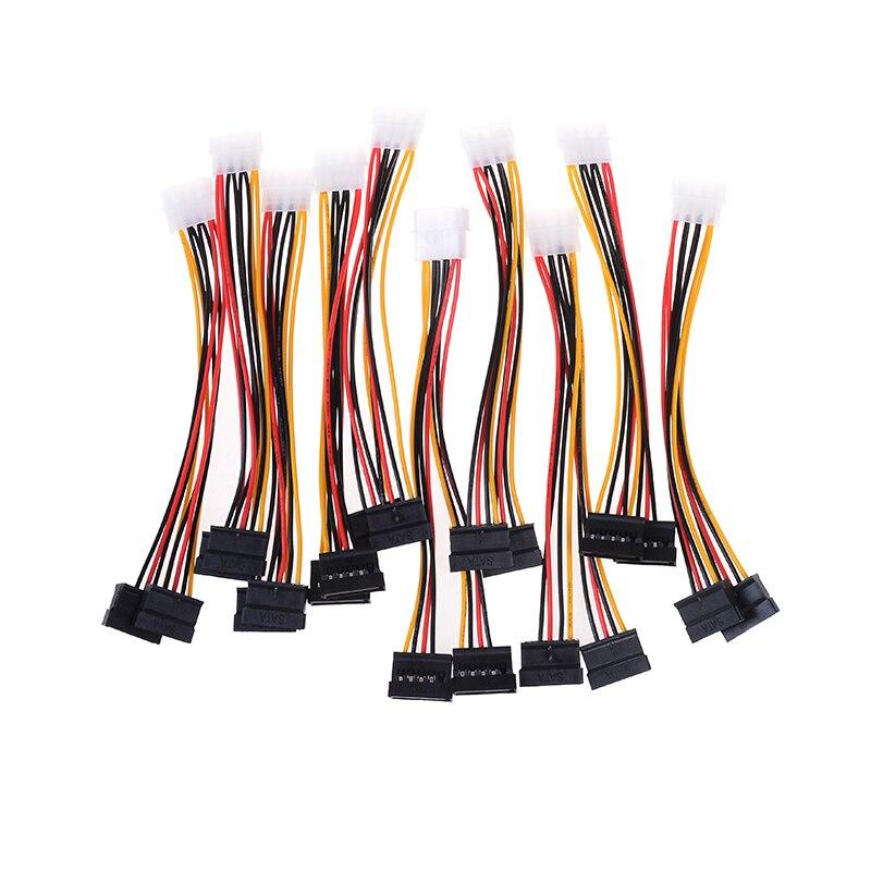 10 piezas de la computadora Cable de 4 Pin IDE divisor de potencia 1 macho a 2 hembra ATA/Cable de alimentación SATA Cable Y cable de fuente de alimentación del disco duro del divisor