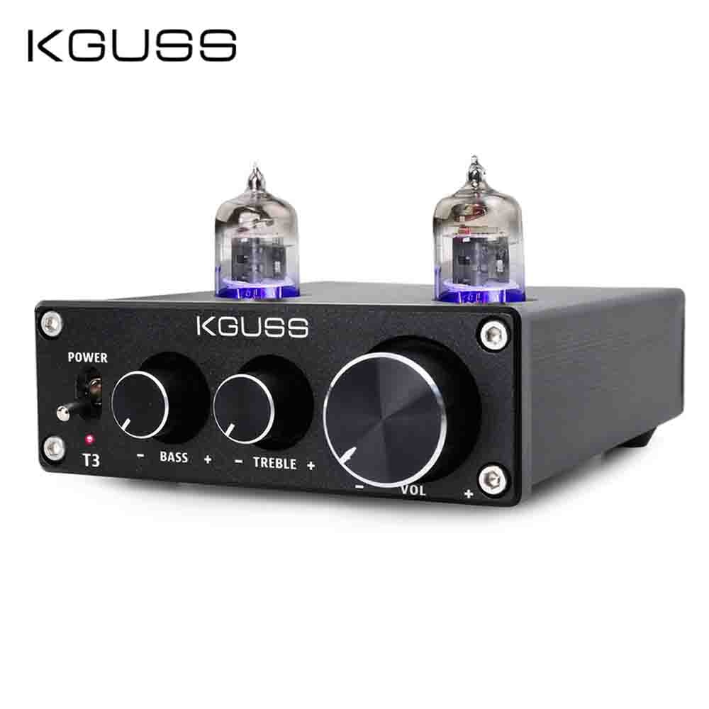 KGUSS T3 MINI Bile 6J1 Preamp Tube Amplifier Buffer HIFI Audio Preamplifier Treble Bass Adjustment Pre-amps DC12V 2019 fx audio new tube 03 mini audio tube pre amps dac audio with bass treble adjustable dc12v 1 5a power supply