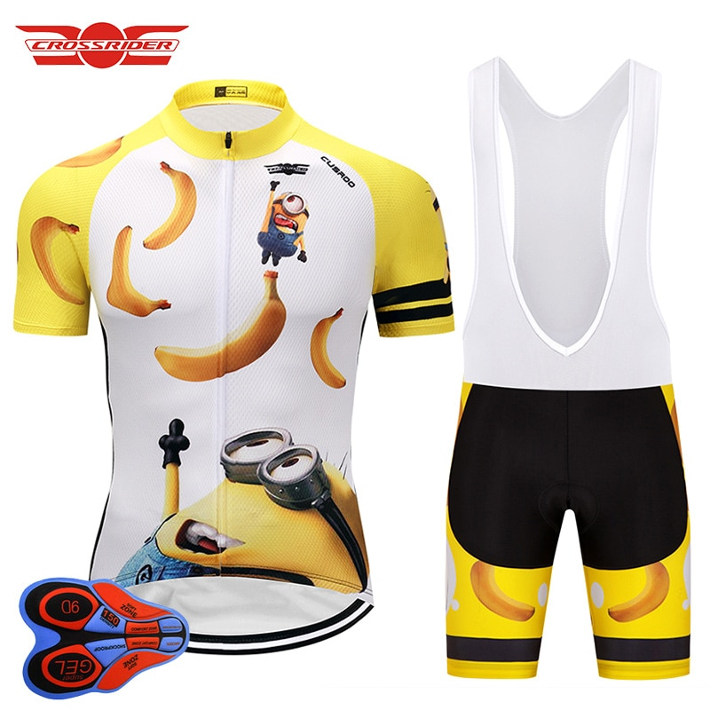 Crossrider-Camiseta de Ciclismo de dibujos animados para hombre, conjuntos de pantalones cortos,...