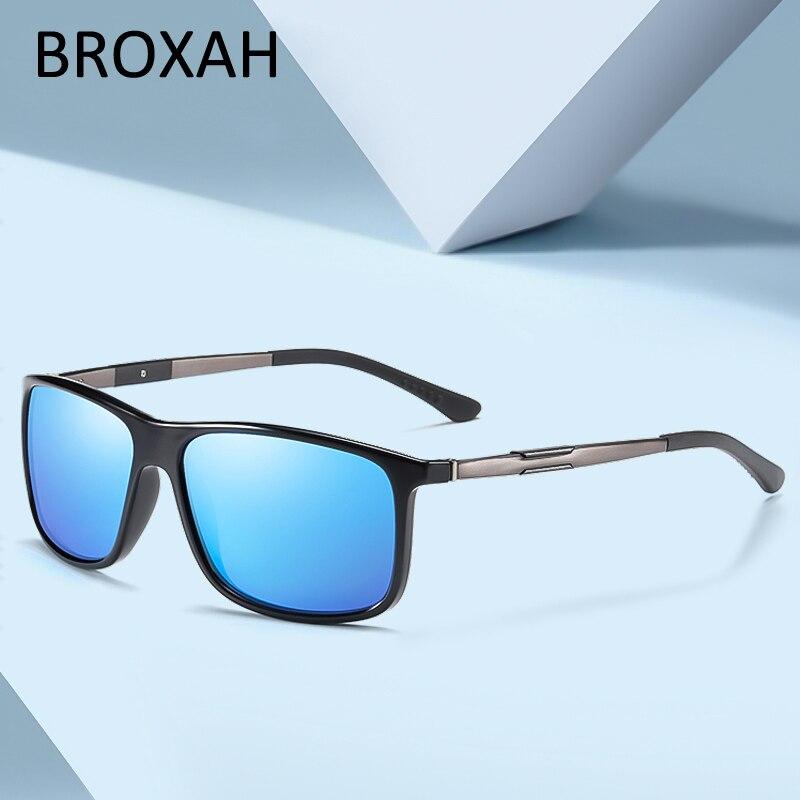 Солнцезащитные очки Мужские поляризационные, классические зеркальные солнечные очки в квадратной оправе, для вождения, UV400