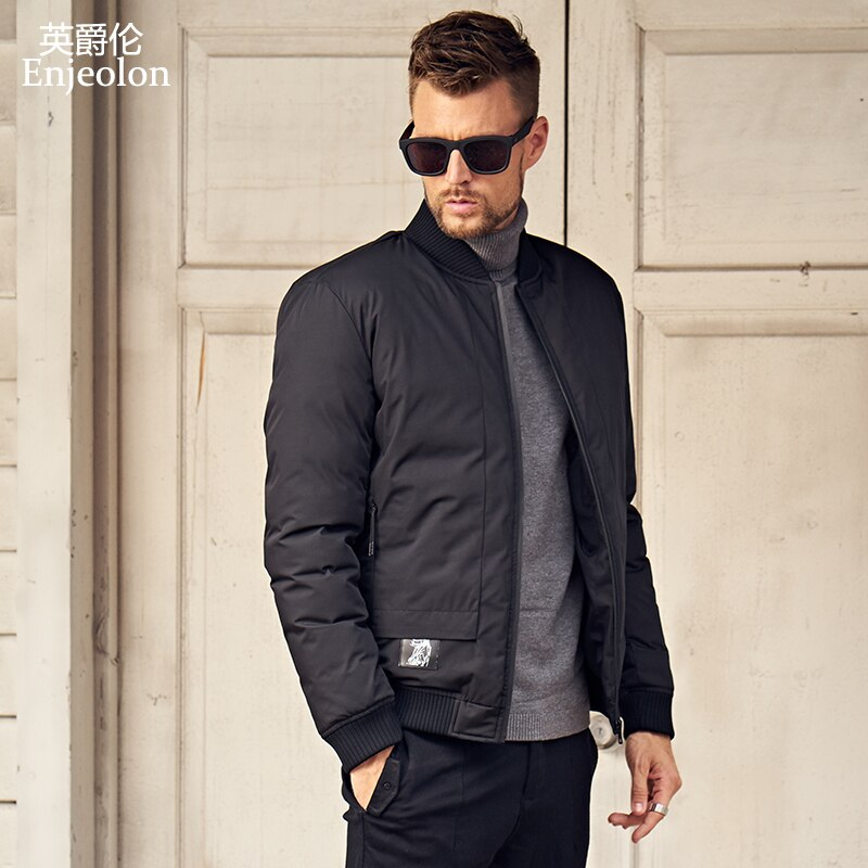 Enjeolon marca 2020, chaqueta de invierno para hombre, abrigo de invierno para hombre, Parka a prueba de viento, Parka negra gruesa acolchada para hombre, abrigo, ropa MF0293