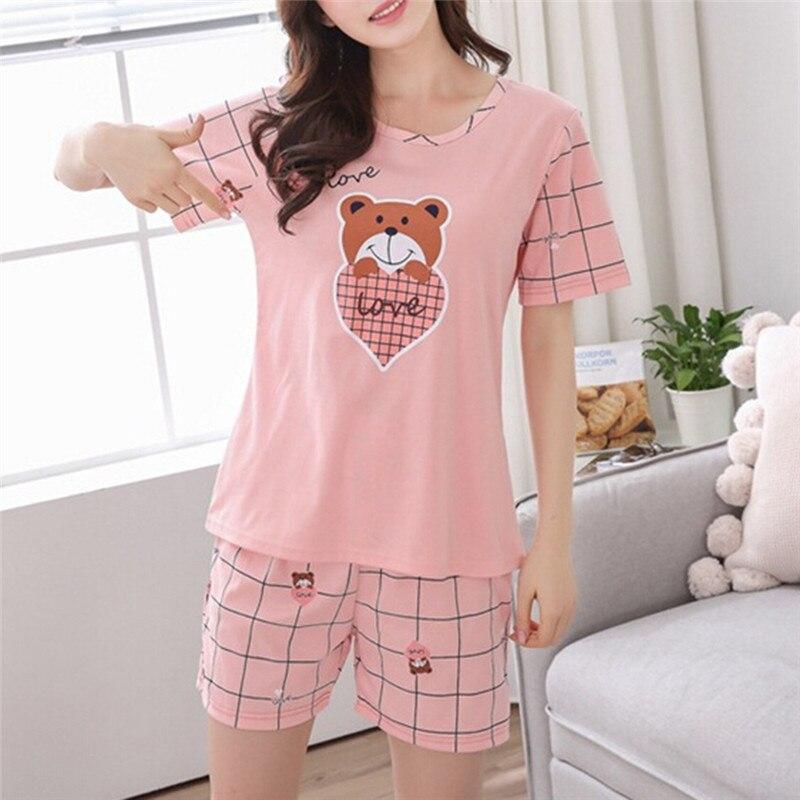 Verão jovem menina de manga curta pijamas para as mulheres bonito nightshirt casual serviço doméstico curto sleepwear M-2XL