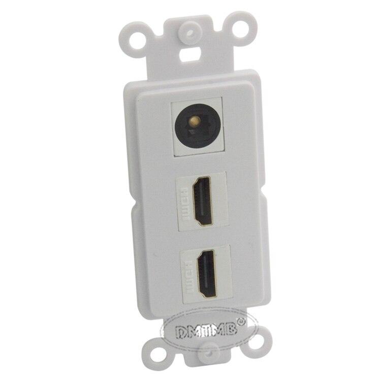 Placa de pared interior con 2 puertos HDMI, 1 puerto Toslink, fibra de audio con estilo keystone y soporte DIY