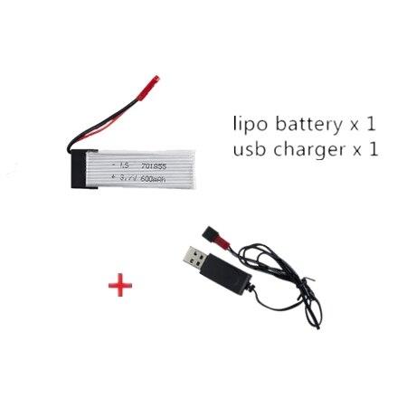 Conector JST de batería li-po 3,7 V 600mah 25C con cable de carga usb udi rc u817 u817a u817c u818a cuadricóptero de 6 ejes WLtoys V929