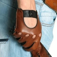 men genuine leather gloves fashion casual breathable sheepskin glove five fingers male driving leather gloves unlined m023w 5