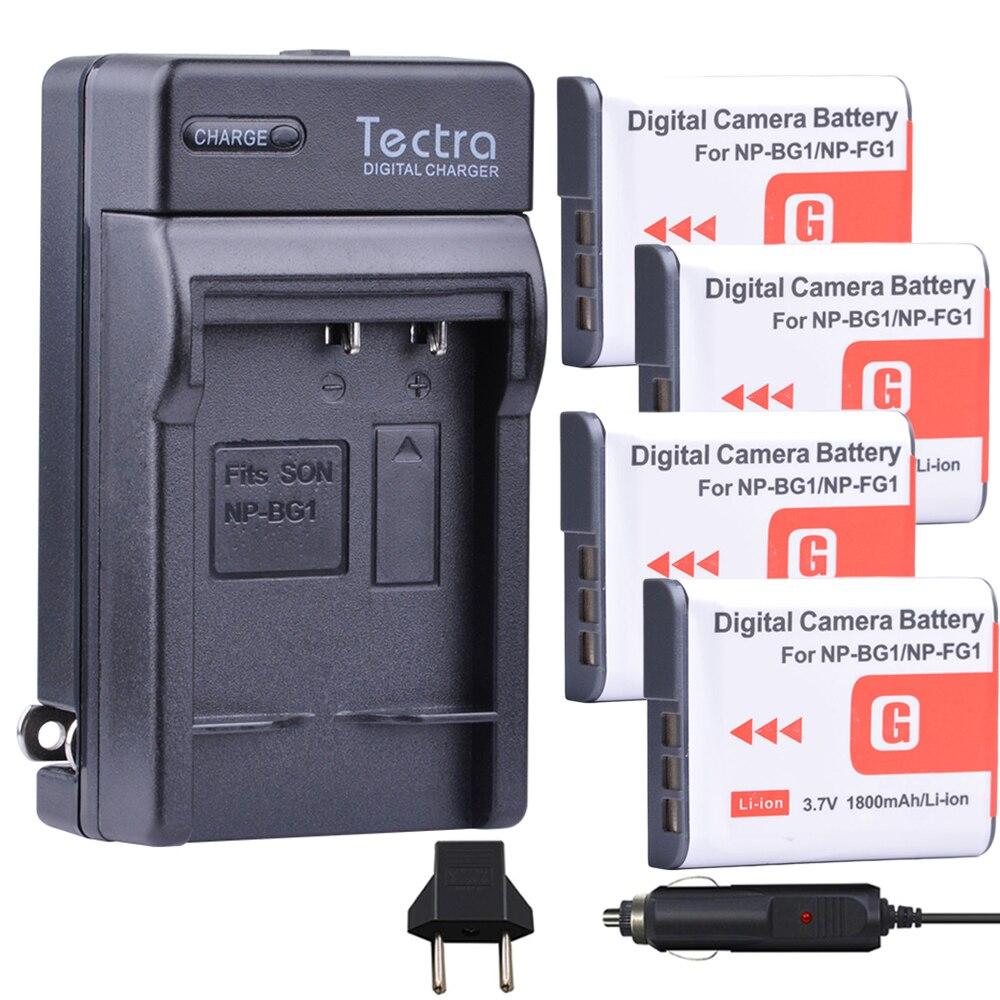 Tectra 4 Uds NP-BG1 NP-FG1 NP BG1 NP FG1 batería + cargador Digital para Sony DSC-H3 DSC-H7 DSC-H9 DSC-H10 DSC-H20 DSC-H50 DSC-H55