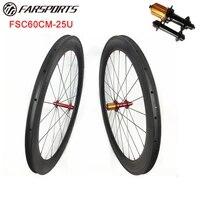 high profile carbon wheels far sports 60mm x 25mm carobon rims clincher ud matt 2024 holes with ed hubs sapim spokes